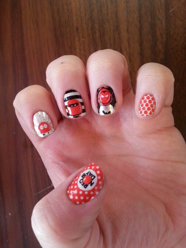 Red nose day nail stickers.