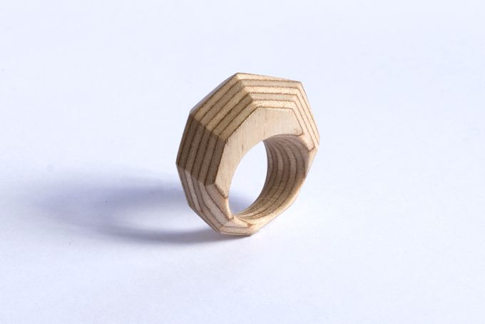 Finnish Birch Plywood faset ring by dorkie jewellery objects on hellopretty.co.za