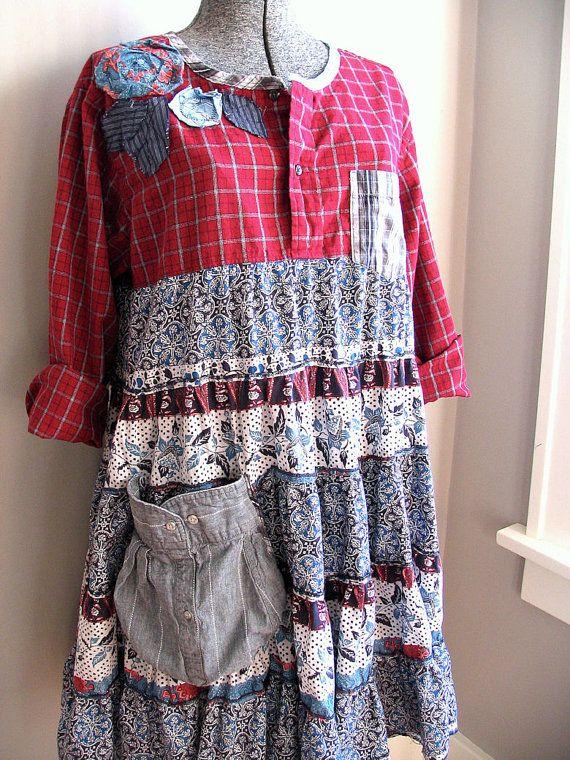 Upcycled Clothing, Upcycled Dress, Red Plaid Babydoll Dress, Shabby Funky Boho Chic, Womens Large XLarge, Prairie Clothing, Loose Fit Dress
