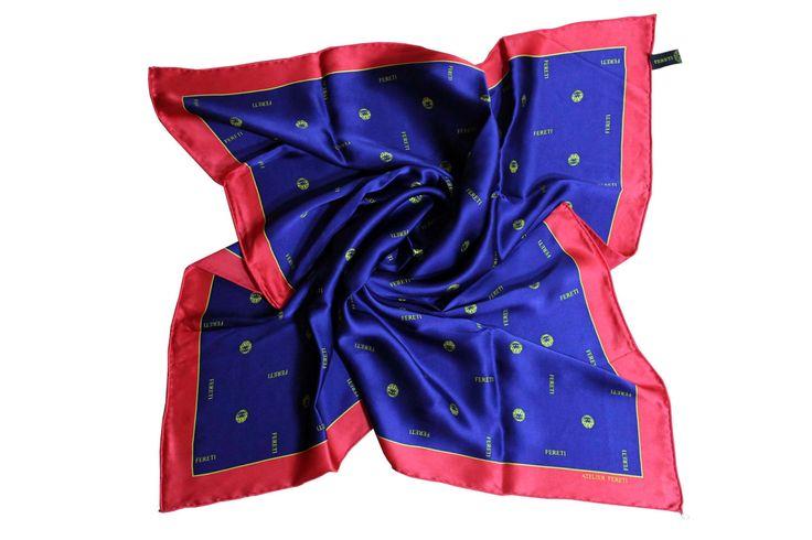 Satijn zijde coraal rood en koning blauw zeef druk met de hand gerold zoom en gekleurd foulard dames donker blauw en pastel geel Fereti door Fereti op Etsy