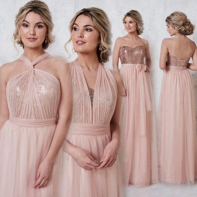Rose Gold Sparkly Mismatched Sequin Long Bridesmaid Dresses 5cf717529505