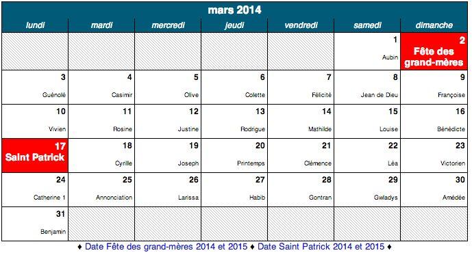 Dates des fêtes de mars 2014, et tous les Saints à souhaiter. Ne ratez aucunes fêtes grâce à notre calendrier de fête.http://www.merci-facteur.com/dates-des-fetes.php #carte #souhaiter #Fêtes #saints