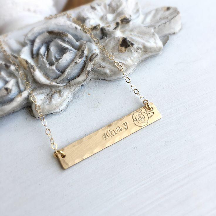 Rose & Name bar necklace.