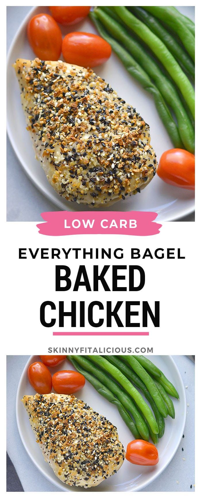 Everything Bagel Chicken! Juicy, baked chicken crusted with everything bagel sea…
