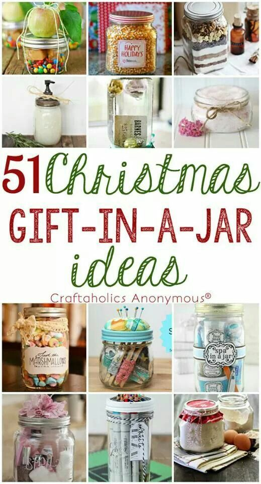 Gifts In A Jar (Could Aslo Be Used As Favors or Party Prizes) Christmas gifts #christmasgifts Holiday gifts