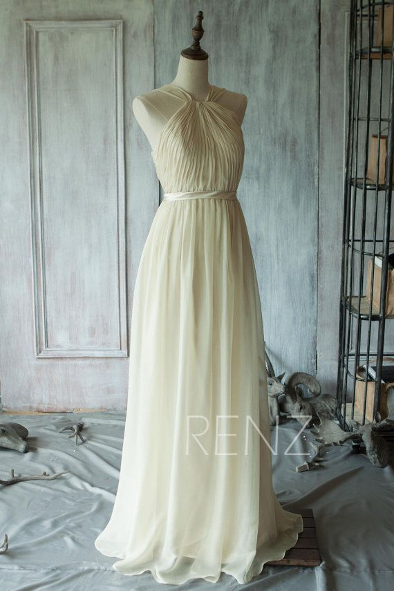 2015 Off-White Bridesmaid dress Long Double Straps by RenzRags