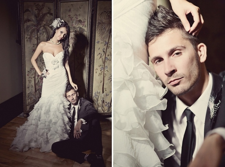 Love the intimacy and drama in this bride and groom photo!