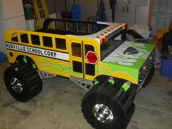 Retro mudville monster truck schoolbus bed room ideas boys pinterest trucks the o 39 jays - Jeep toddler bed plans ...