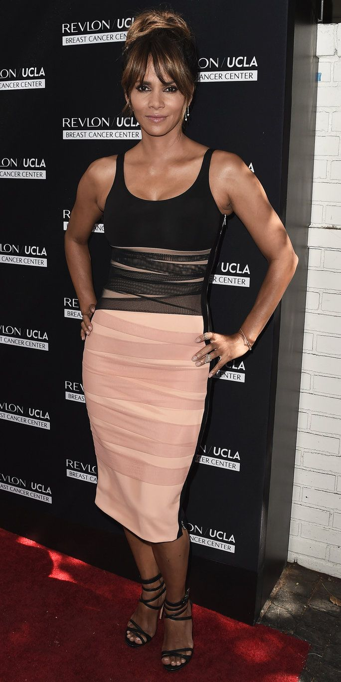Halle Berry's Exquisite Pink and Black Body-Con Dress Gives Us Life