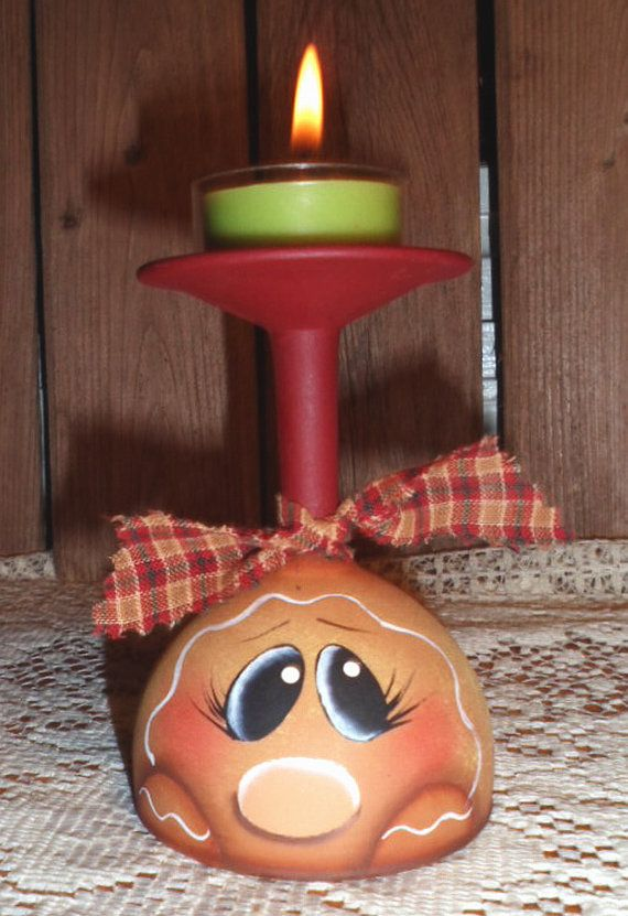Gingerbread Hand Painted Wine Glass Candle Holder
