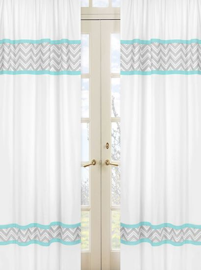 Turquoise And Gray Zig Zag Chevron 84 Inch Curtain Panel Pair Print Turquoise And Window