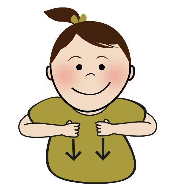 Babygebaren - aankleden: Beweeg je handen van omhoog naar omlaag, alsof je een t-shirt naar beneden trekt over je buik. Wil je juist uitkleden gebaren, doe dan bijvoorbeeld alsof je een blouse of een jas uittrekt. | JongeGezinnen.nl/babygebaren