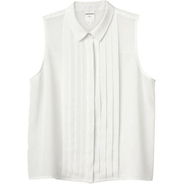 Monki Luna Singlet (€25) ❤ liked on Polyvore featuring tops, shirts, blouses, tank tops, cream, pleated shirt, white tank, cream shirt, white shirt and cream tank top
