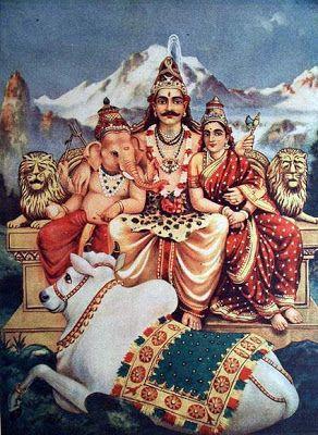 Shankar, Parvati and Ganesha