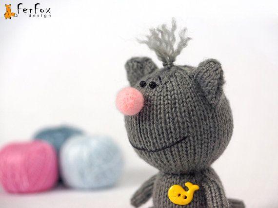 Cat plush, stuffed cat, kitten hand knit toy, cute cat, stuffed animal, softie cat - Eddie the Cat