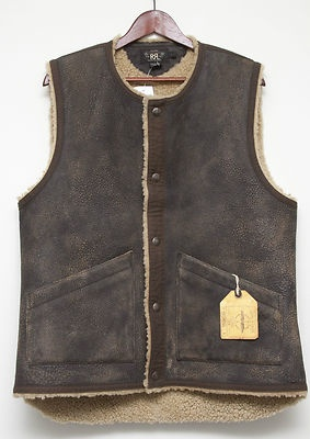 Ralph Lauren RRL Double RL Brown Distressed Leather and Shearling Vest