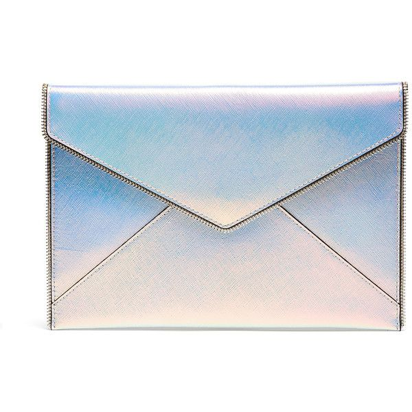 Rebecca Minkoff Handbags Opal Leo Clutch found on Polyvore featuring bags, handbags, clutches, man bag, handbags clutches, blue purse, handbag purse and rebecca minkoff handbags