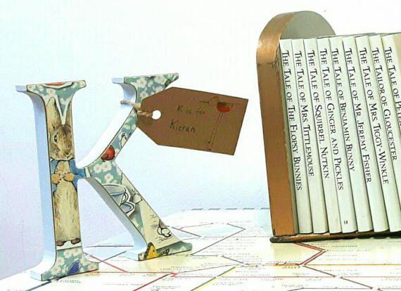 Peter Rabbit Letters Nursery Art Wooden Letters by QuirkyArtsHere