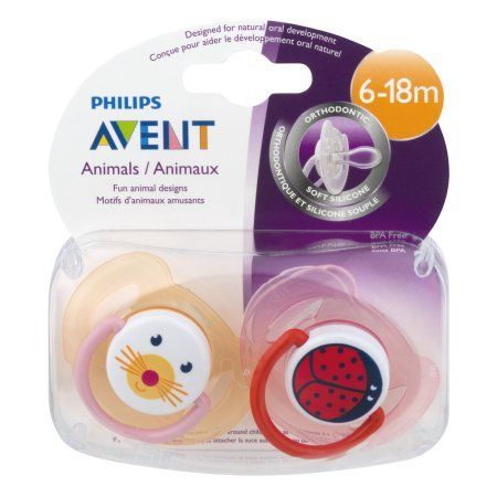 Philips Avent Soother Animal Pacifier, 6-18 Months, 2pk, Orange/Pink, BPA-Free