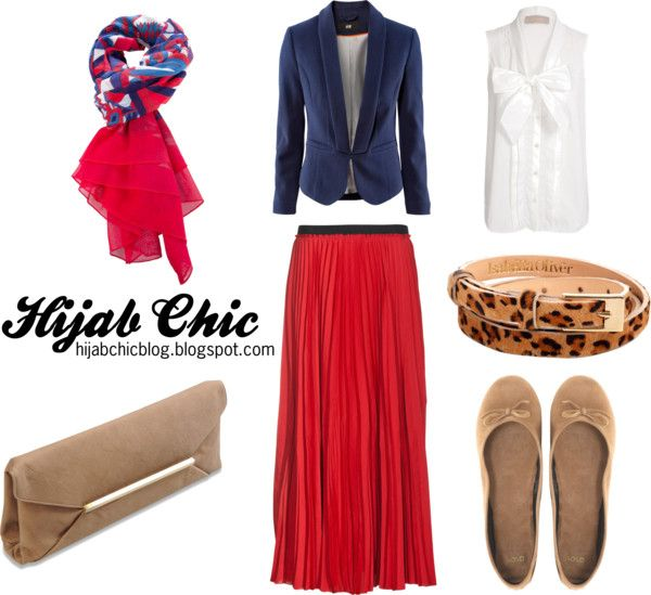 """""""Hijab style inspiration: red skirt"""" by vanillagurl88 on Polyvore"""
