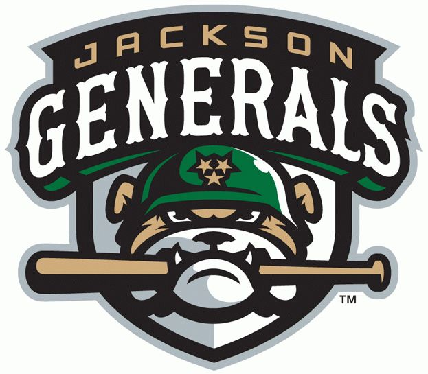 Jackson Generals Primary Logo (2011) - A dog chomping a bat wearing a helmet with three stars below team script