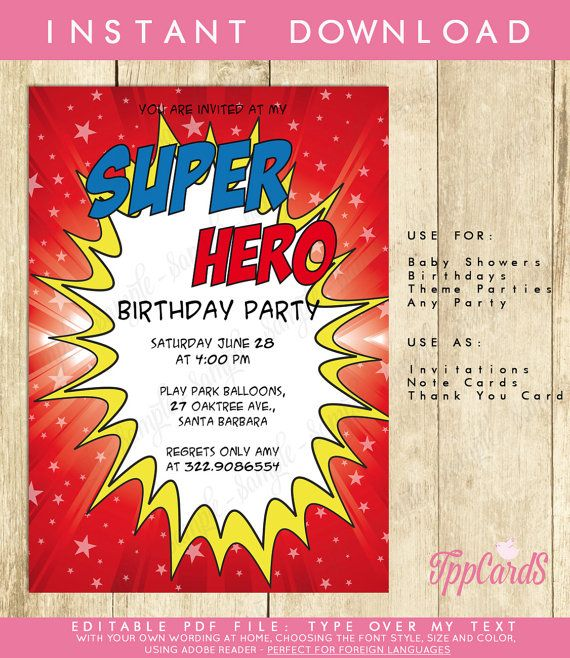 Red Superhero Invitation - INSTANT DOWNLOAD - Editable Birthday Party PDF file you personalize at home with Adobe Reader by TppCardS #tppcards