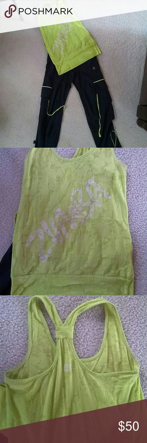 Lime green and black Zumba outfit Lime green halter Zumba top with matching black and lime green cargos. Very comfortable!! Other