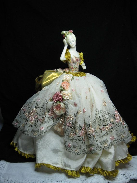 Large Porcelain Half Doll Dressed in Beautiful soft colors with an Exquisite Old…