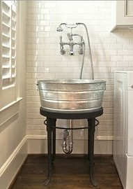 OHMYGOODNESS!!!  these are the sinks i want in my country farmhouse!!!!  and i want one of those huge feed troughs for the bathtub!!!!!  i would lower the faucets tho & hang a mirror and have some sort of shelf for soap, etc.!!!  PERFECT!!!!   if i do ANYTHING from pinterest, i want it to be THIS!!!!!