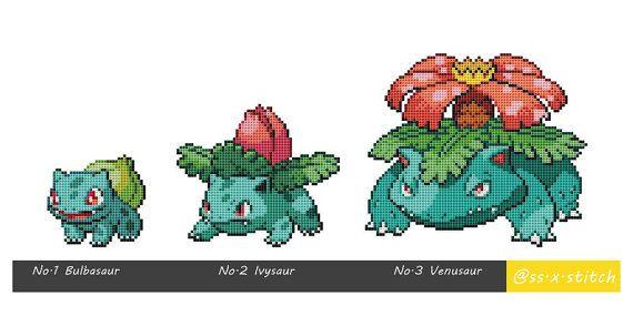 Cross Stitch Pattern Pokémon Sprites 001-003 Bulbasaur Ivysaur Venusaur