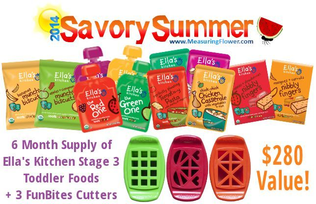 #win a 6-mo. supply of Ella's Kitchen Stage 3 #toddler foods and 3 FunBites food cutters--a $280 value! #giveaway #sweepstakes #SavorySummer {Ends 6/30/14}
