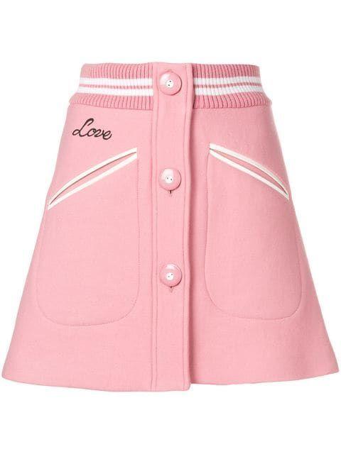55d971bf321 Shop Miu Miu rib trim button front mini skirt