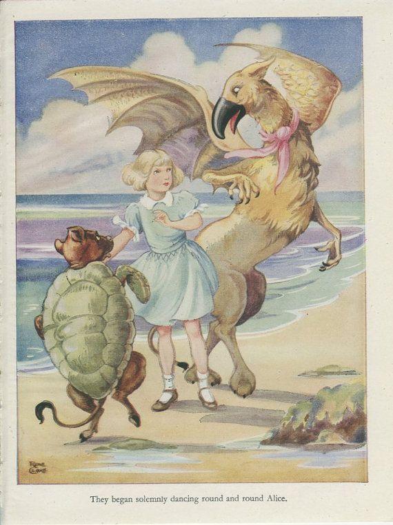 Alice in Wonderland Print 1944, Lobster Quadrille, Mock Turtle Gryphon Kids Bedroom Decor Girls Room Decor Rene Cloke, Fairy Tale Art