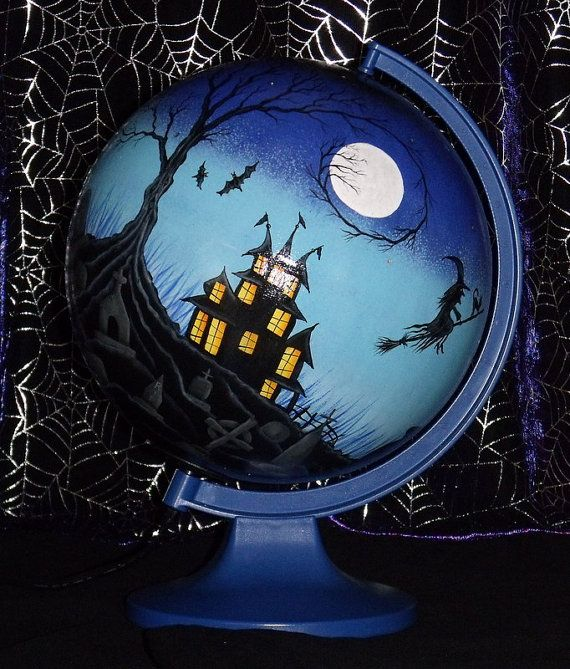 Halloween painted globe | Hand Painted Spooky Halloween Haunted House and Graveyard Scene ...