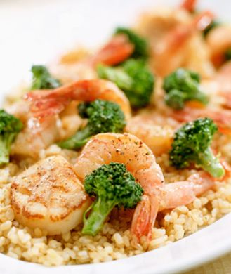 Shrimp and Edamame Stir-Fry. Great healthy lunch or dinner dish. Store-bought frozen shrimp is quick to thaw and easy to whip into a flavorful lunch, especially when combined with broccoli and edamame. The Japanese green soybean is an all-star legume, naturally abundant in antioxidants and isoflavones. =