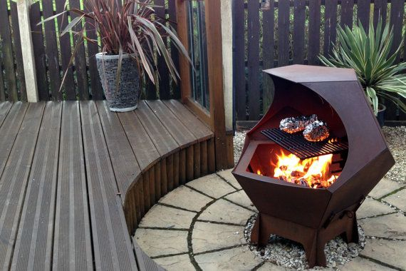 Decahedron metal Fire Pit functional artwork with removable grill by DogBiscuitDesigns, from Digby Scott in Wakefield, UK, my talented fellow Etsian, £475.00