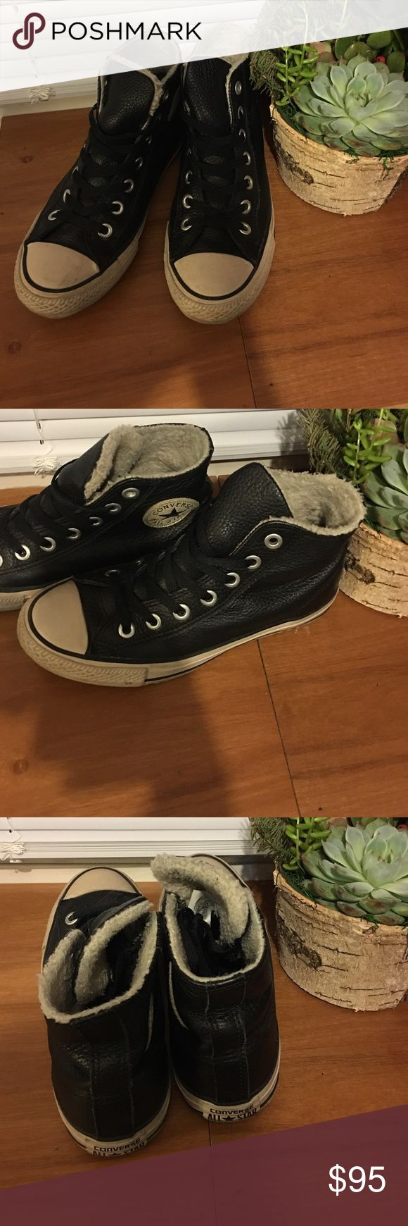 Leather Converse Limited edition fleece-lined, black leather Converse All-Stars! Converse Shoes Sneakers