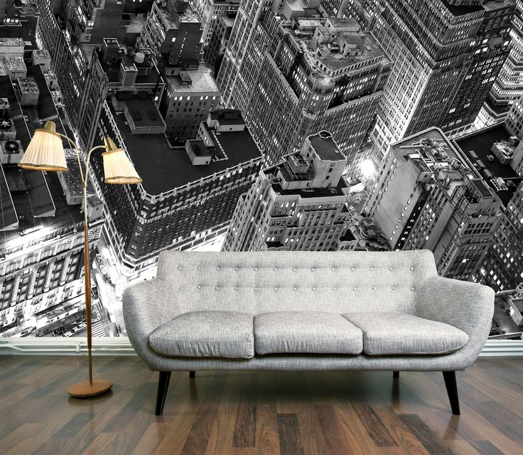 Penthouse View Mural (Penthouse View)   Digetex Wallpapers   An Enhanced  Black And White Photo Image Of A New York City Skyline From Above.