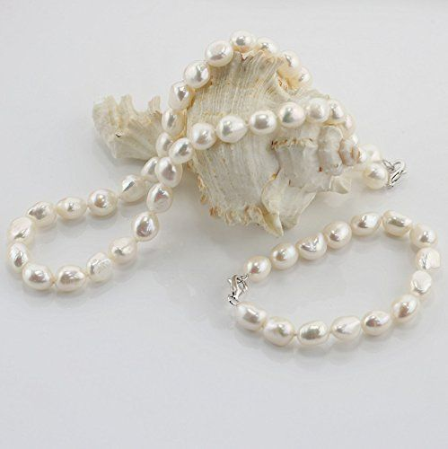 a62b7c2b7 Chpel 925 Sterling Silver Baroque Irregular Cultured Freshwater Pearl  Jewelry Set 10mm AAA Quality **