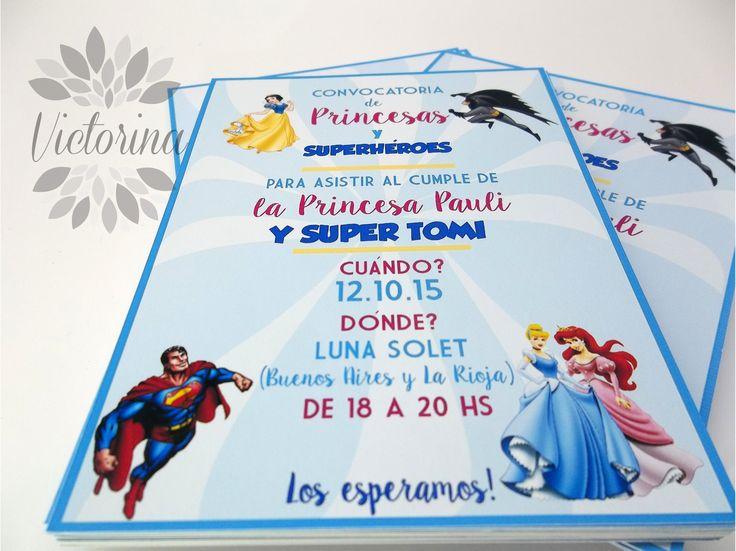 Invitacion princesas y superheroes