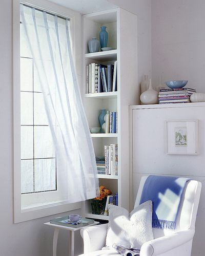 Yes, please.Ideas, Reading Area, Spare Bedrooms, Book Nooks, White, Reading Corner, Reading Nooks, Diy Curtains, Coffe Nooks