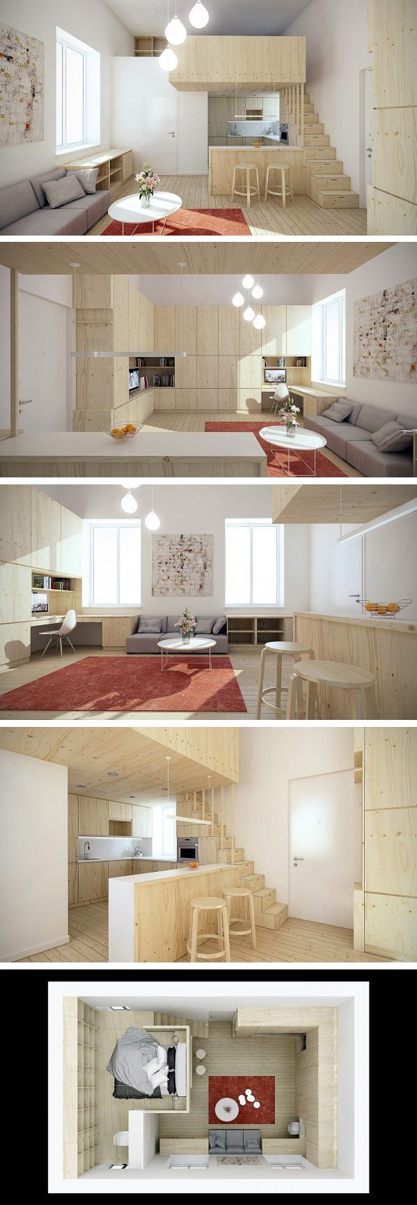 Loft de 25 metros quadrados https://za.pinterest.com/search/pins/?rs=ac&len=2&q=micro+loft+design&0=micro%7Cautocomplete%7C3&1=loft%7Cautocomplete%… | Casiñas …