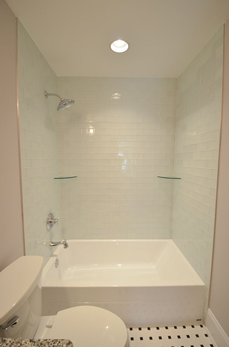 Oversized Tub Shower Combo With Light Blue Tile Shower