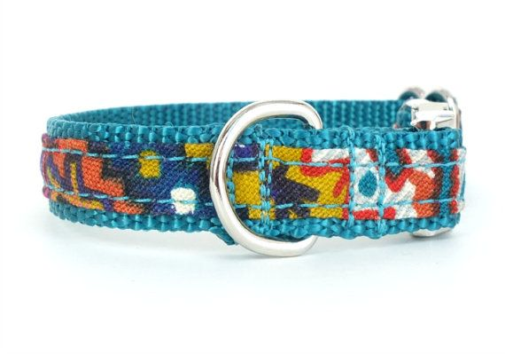 #Teal dog collar with #Southwestern style