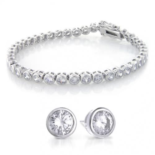 Bezel Sterling Silver CZ Tennis Bracelet & Studs Set