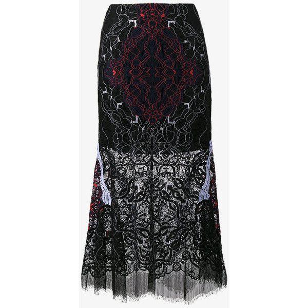 Jonathan Simkhai Lace Embroidered Sheer Skirt ($740) ❤ liked on Polyvore featuring skirts, black, high waisted pencil skirt, flared skirt, long sheer skirt, lace skirt and long lace skirt