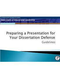 preparing a presentation for your dissertation defense Most universities require an oral defense of your dissertation before the final  version  preparation, don't try to memorize all the studies cited in your  dissertation, but  discuss with your chair the possibility of having a powerpoint  presentation.