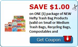 New Coupon!  Save $1.00 on ONE (1) package of NEW Hefty Trash Bag Products (valid on Small or Medium Trash Bags, Recycling Bags, Compostables and - http://www.stacyssavings.com/new-coupon-save-1-00-on-one-1-package-of-new-hefty-trash-bag-products-valid-on-small-or-medium-trash-bags-recycling-bags-compostables-and/