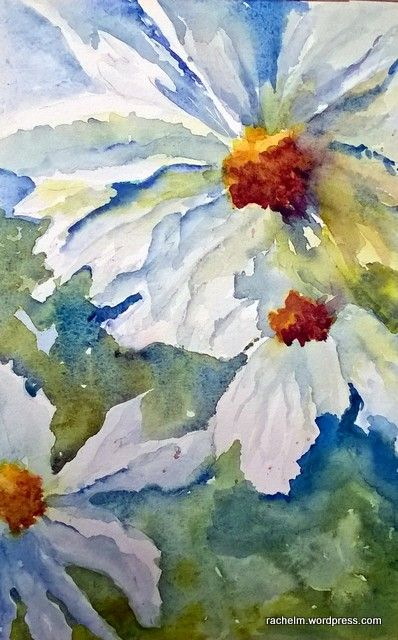 Here's another painting from the workshop with Carol Carpenter done from a photo of my cosmos from several years ago. These were some of the instructions we followed. Show an odd number of it…