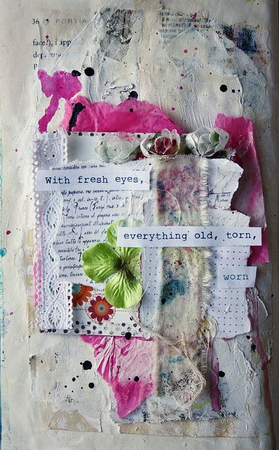 Left page - Using an altered book, collaged papers onto pages, brayered paint, modelling paste, neocolour II crayons, flowers, scrap paper from Basic Grey, lace, ribbon, ink, inky canvas and tissue paper